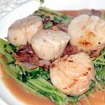 Scallops on Wilted Pea Shoots
