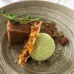 Carrot Alfalfa Sprout Cake with Sweet Pea Ice Cream and Seed Brittle